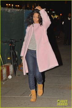19d46c1dde9d Rihanna wearing Timberland Premium Boots in Wheat Nubuck