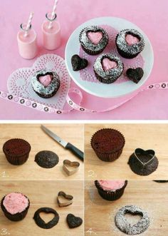 Sweetheart cupcakes. Bet you can do this w/ any other shape.