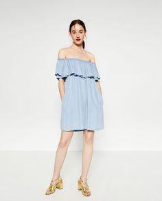 Image 1 of DENIM OFF-THE-SHOULDER DRESS from Zara