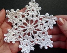 Your place to buy and sell all things handmade Crochet Snowflake Pattern, Crochet Flower Tutorial, Crochet Snowflakes, Snowflake Ornaments, Crochet Flowers, Crochet Patterns, White Snowflake, Love Crochet, Small Gifts