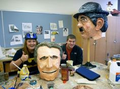 big head project, actually worn by students, like life size bobbleheads. love it!