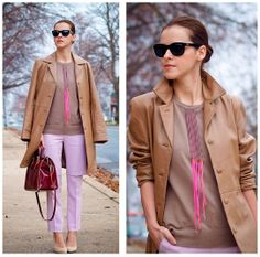Camel & lilac (by Veronica  P) http://lookbook.nu/look/4333679-Camel-lilac