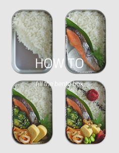 how to pack the roasted salty salmon and the food into the bento box.