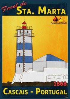 Vintage Travel Poster - Farol Sta. Marta - Cascais - St. Marta Lighthouse - Cascais - Portugal