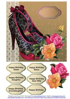 Shoe and Roses on Craftsuprint - Add To Basket!