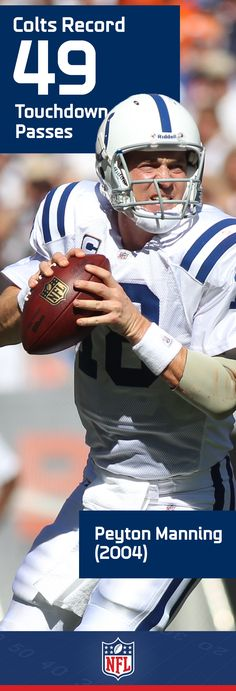 Peyton Manning lit up the league during his time in Indianapolis. The all-time NFL touchdown leader racked up 49 of them during the 2004 campaign, a mark that sets a Colts record.