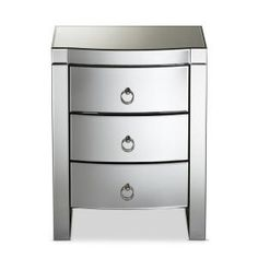 Lowest price online on Baxton Studio Florence Hollywood Regency Glamour Style Mirrored Nightstand Mirrored Nightstand, 3 Drawer Nightstand, Nightstands, Mirror 3, Baxton Studio, Hollywood Regency, Florence, Drawers, Glamour