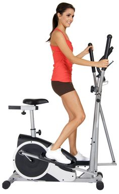 Body Champ BRM2720 Magnetic Cardio Dual Trainer. Patented 2-in-1 Elliptical Motion Design Technology- Use as Elliptical Trainer or Exercise Bike. Versatile motion design allows both forward and backward movement. Dual-action handle bars for total body workout and 2-way adjustable seat. Computer LCD Displays: Heart Rate / Calories Burned / Time / Distance / Speed. Includes workout DVD.