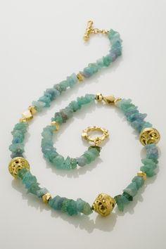 Paraiba Tourmaline with handmade 18K gold beads. TracyJohnsonJewelry.com