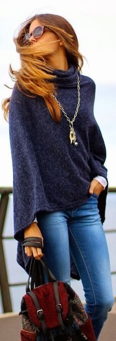 Comfy classy travel outfit: Distressed jeans + white long-sleeve tee or tank + navy cowlneck cape sweater + long pendant necklace #inspiration