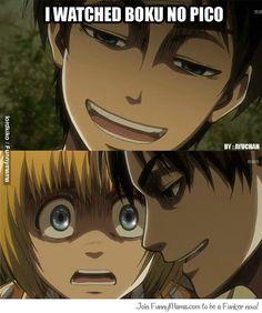 You freaked Armin out, Eren. Shingeki no kyojin ~ attack on titan Otaku Anime, Me Anime, I Love Anime, Anime Manga, Anime Art, Armin, Mikasa, Funny Anime Pics, Anime Meme