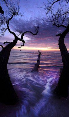 427 Purple sunrise at Batu Hitam beach near Kuantan, Pahang, Malaysia Beautiful Sunset, Beautiful World, Beautiful Places, All Nature, Amazing Nature, Landscape Photography, Nature Photography, Photography Tips, Sunrise Photography