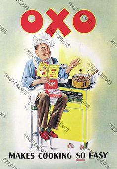 Retro Vintage Poster Art, OXO advert print Various Sizes Vintage Advertising Posters, Advertising Archives, Old Advertisements, Vintage Posters, Retro Posters, Advertising Signs, Images Vintage, Vintage Ads, Vintage Prints