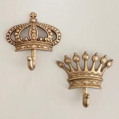 Antique Champagne Crown Metal Hooks, Set of 2