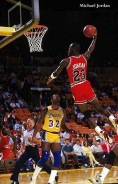An awesome poster of Michael Jordan going up for a super dunkwhile Magic Johnson looks on in amazement! Classic NBAbasketball at its finest. Ships fast. 11x17
