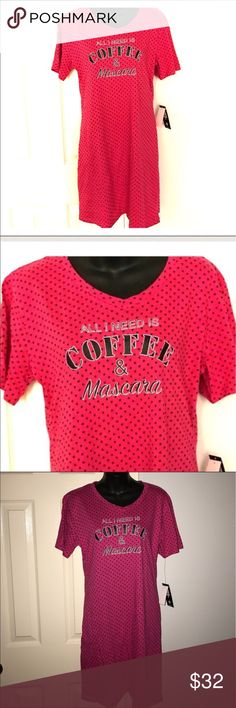 """NWT coffee & mascara graphic nightgown sleepshirt New with tags. Pink polka dot """"All I Need Is Coffee & Mascara"""" nightgown or sleep shirt. Size medium juniors. Brand is Body Frosting. Super cute sleep shirt! Adorable! Bundle with other items in my closet to save even more. Intimates & Sleepwear Pajamas"""
