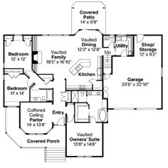 Craftsman Style House Plan - 3 Beds 2.5 Baths 2197 Sq/Ft Plan #124-628 Main Floor Plan - Houseplans.com