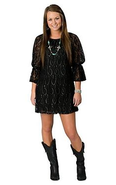2Tee Couture Black Glitzy Lace Dress $64.00