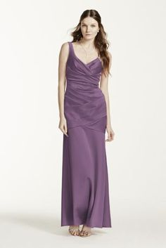 Flawless structured design, your bridesmaids will look alluring in this stunning dress!  Sleeveless v-neck dress with stretch satin pleated bodice.  Lined through the hip. Back zip. Imported polyester. Dry clean only.  Available in extra length as style 4XLF15652.  To protect your dress, try our Non Woven Garment Bag.