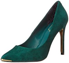 Ted Baker Women's Neevo 4 Dress Pump,Dark Green,8.5 M US. Pointed-toe pump in soft suede featuring metallic sheen at toe tip and under heel.
