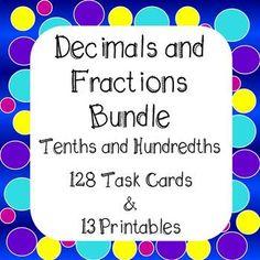Decimals and Fractions Tenths and Hundredths Bundle Task C