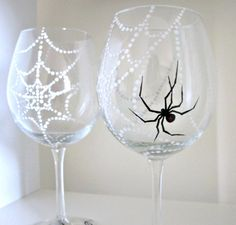 Spider's Web 2 Hand Painted Wine Glasses by SwirlyGarden on Etsy, $40.00