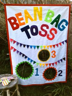Bean Bag Toss Party Game with Bean Bags Rainbow by BooBahBlue