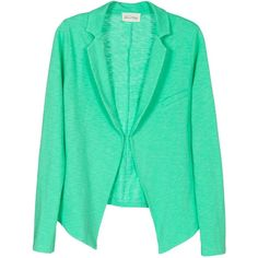 Blazer femme coton flammé ❤ liked on Polyvore featuring outerwear, jackets, blazers, tops, green blazers, green blazer jacket, blazer jacket and green jacket