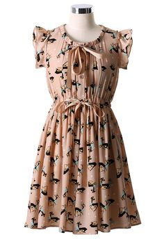 Deer Print Bowknot Dress in Nude Peach