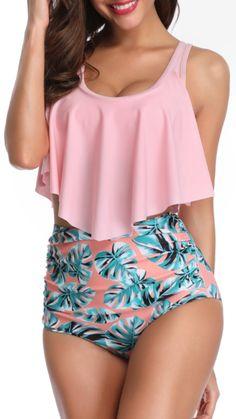 Peach Flounce Leavy High Waisted Bikini Sets – Gabi Swimwear Source by gabiswimwear beachwear Bathing Suits For Teens, Summer Bathing Suits, Cute Bathing Suits, Cute Swimsuits, Women Swimsuits, High Waited Swimsuit, Trendy Bikinis, Ruffle Swimsuit, Plus Size Bikini