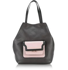 MARNI Dark Chocolate, Cement and Quartz Leather Hexagonal Trunk Bag. #marni #bags #hand bags #suede #tote #lining #