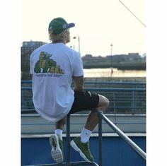 """insta: @ benhrm  """"Green like money""""  Stussy Airmax street wear ootd kotd sneaker head"""