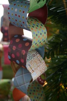make decorative garland out of paper rings stapled together.  could use for christmas tree, party decorations, holidays