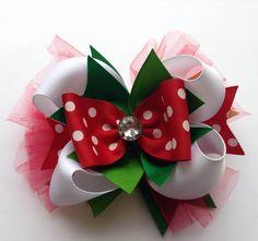 """Girls 5.5"""" Christmas Polka Dot """"Noelle"""" Ribbon Bow Clip"""