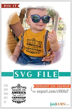 Made in America with Canadian Parts SVG cut file for cameo, cricut, craft cutters. Instant OFF on newsletter subscription Craft Cutter, Baby Svg, Made In America, Svg Cuts, Silhouette Studio, Cricut Design, Newsletter Subscription, Round Sunglasses, Cricut Craft