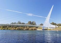 The cantilevered Sundial Bridge that stretches over the Sacramento River in Redding, California, is the world's largest functioning sundial. The support tower casts a shadow on a dial at the northern end of the bridge, providing the accurate time on one day of the year: the summer solstice.