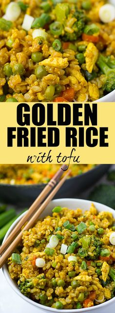 Golden Fried Rice: Vegan fried rice with vegetables and scrambled tofu! Oil free. Gets it's golden hue from turmeric!