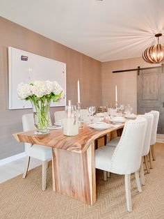 For my house - modern yet rustic dining table with upholstered chairs. Neutrals + naturals = elegant and chic!