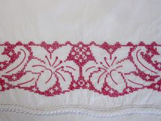 Vintage Pair Embroidered Pillowcases Cotton Hand Embroidered