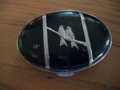 Vintage POWDER COMPACT - 2 Silver Love Birds on Black Enamel Compact, Lipstick Case, Love Birds, Black Enamel, Powder, Perfume, Silver, Shaving, Vintage