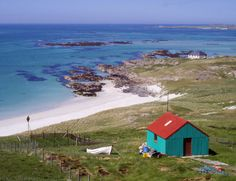 Eriskay is a small island of only three square miles, off the coast of South Uist in the Outer Hebrides in Scotland. Places In Scotland, Scotland Travel, The Places Youll Go, Places To See, Wales, Beautiful World, Beautiful Places, Outer Hebrides, England