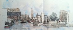 Beautiful sketch of New Islington, Manchester, by Ridyard Landscape Sketch, Urban Landscape, Beautiful Sketches, Town And Country, Manchester, Watercolor, Budget, Painting, Spaces