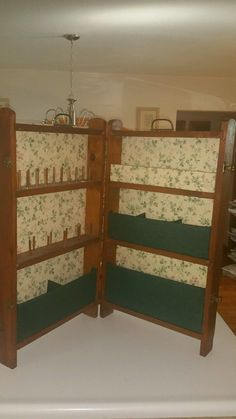 Vintage Folding Sewing Cabinet Case Wood Box Station Primitive Folk Green   eBay