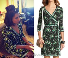 Mindy Kaling's wearing this black, green and white floral print dress with geometric trim for another Inside Out press day.