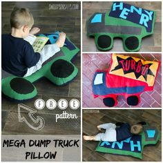 Grab some cheap fleece and sew up a…Free mega dump truck pillow sewing pattern! Grab some cheap fleece and sew up a… Sewing Projects For Kids, Sewing For Kids, Diy For Kids, Fun Projects, Sewing Toys, Baby Sewing, Sewing Crafts, Boys Sewing Patterns, Clothes Patterns