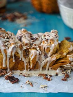 Pumpkin, Bourbon Cream and Toasted Pecan Pull Apart Bread. (How Sweet It Is) Pumpkin Recipes, Fall Recipes, Croissants, Biscuits, Pull Apart Bread, Bourbon, Toasted Pecans, Toasted Coconut, Macaron