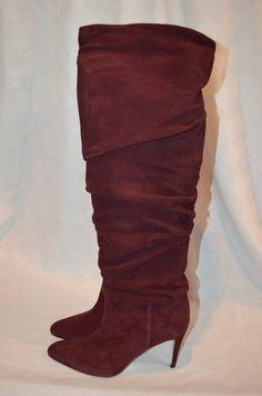 New Sz 38-7.5 Manolo Blahnik Suede Burgandy Brunchileehi Bordeaux Pull On Boots #ManoloBlahnik #FashionKneeHigh