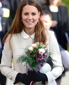 The Duchess of Cambridge, in 'The Imogen Glove' in black.  Click here to purchase the Imogen Glove! http://www.corneliajames.com/Day-Gloves-by-Cornelia-James/Imogen-Pure-Wool-Glove-Black