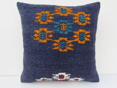 "Turkish Kilim Kelim Rug Pillow Cover 16"" X 16"" Kilim Rug Pillow #Turkish"