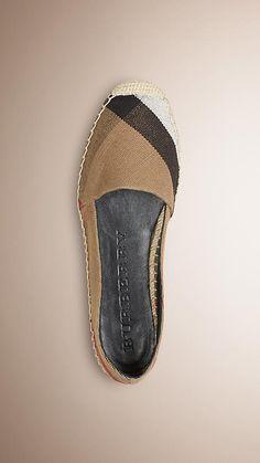 Classic check Espadrille mit Check-Muster aus Jute-Baumwolle - Bild 1
